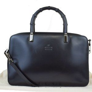 GUCCI Logo Bamboo 2Way Hand Bag Leather Silver Bl